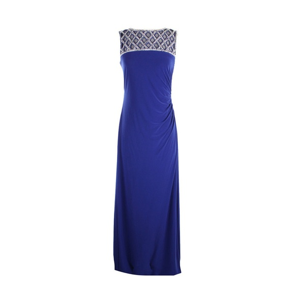 85279794b Xscape Dresses | New Blue Lattice Beaded Illusion Dress 6 | Poshmark